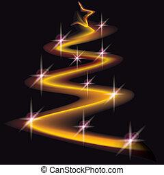 christmas lights - abstract lights as christmas tree on the...