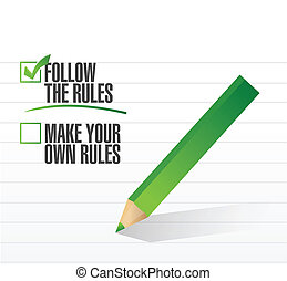 follow the rules check of approval illustration design