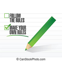 make your own rules check of approval illustration design