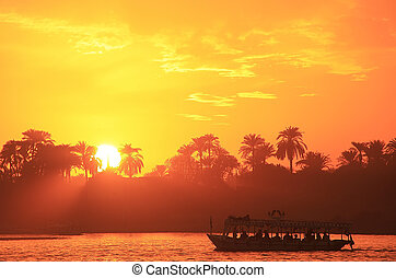 Sunset over the Nile river, Luxor, Egypt