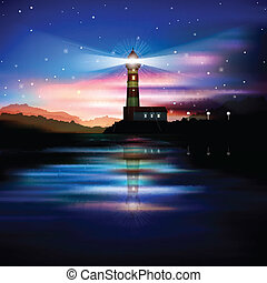 abstract background with lighthouse - abstract blue...