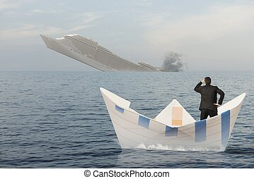 Ship is sinking into the sea Concept of business crisis
