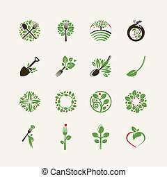 Set of organic food icons for the restaurants, food...