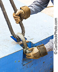 Fitting bolt anchor shackle with wire rope sling - Close up...