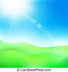 Green hill under blue sky whit sun.