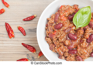 Chilli Con Carne - Top View of Chilli Con Carne in White...