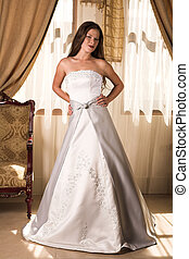 Beautiful young bride - Slim beautiful adult woman with long...