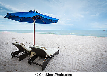 Beach chair and umbrella - White Beach chair and blue...