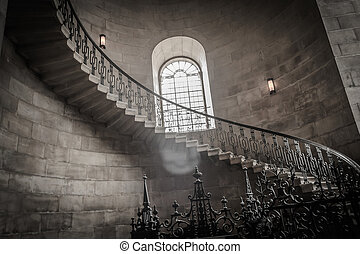 Castle Spiral stairs - Spiral stairs in old castle in europe...