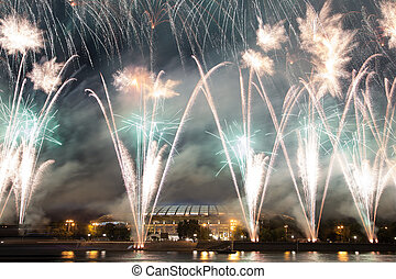 Fireworks on the embankment of the Moskva River near...