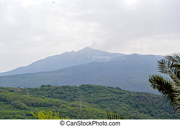 Mountainous landscape with views of Mount Etna in Sicily