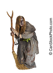 Herbalist or witch with broom - Herbalist or ugly witch with...