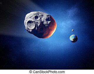 Asteroide, colisión, curso, tierra, (Elements, esto,...