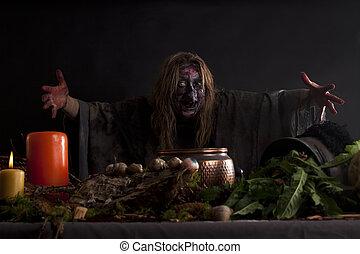 sorcière, leur, cuisine