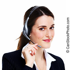 Business woman in headsets. Isolated over white background.