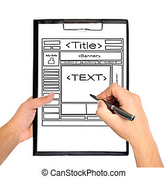 template web page - clipboard whit template web page in hand