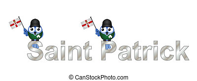 Saint Patrick text and patriotic bird waving flag isolated...
