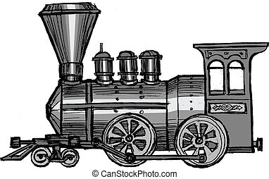 steam train - hand drawn, sketch, cartoon illustration of...