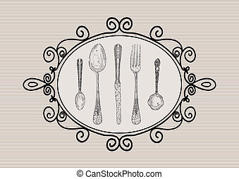 Retro cutlery elements sketch style set - Vintage hand drawn...