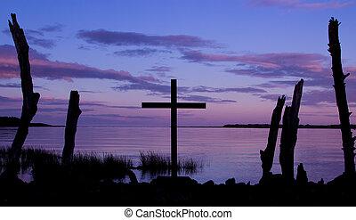 Purple Color Cross Sunrise