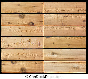 Selection of wooden planks isolated black