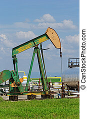 Oil pump jack - Operating oil and gas well detail