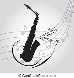 saxophone - abstract saxophone silhouette on special music...