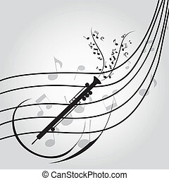 oboe - abstract oboe on music score on special music...