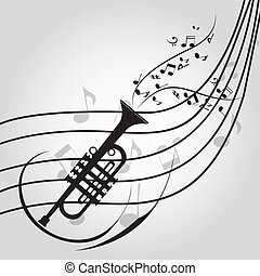 trumpet - abstract trumpet silhouette on score on special...