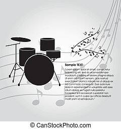 drums - abstract drums silhouette on special music...