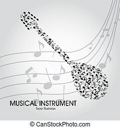 banjo - abstract banjo with different music notes on special...