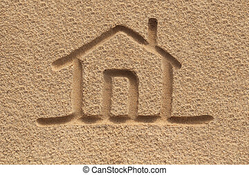 house(home) icon or sign drawing in beach sand - concept...