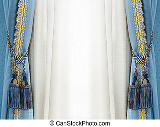 Elegance curtain tassel - Close up blue color elegance...