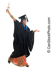 Full body Indian university student jumping - Full length...