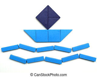 Tangram game toy with ship at sea