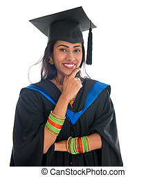 Indian graduate adult student thinking - Happy Indian...