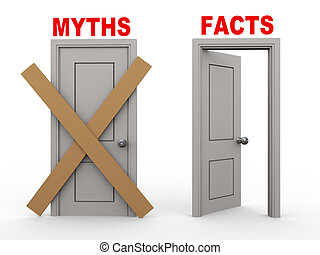 3d myth and fact doors - 3d illustration of close door of...