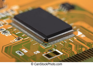 Printed Circuit Board with electrical components - Printed...