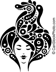 Beautiful woman silhouette, black and white illustration -...