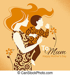 Beautiful silhouette of mother and baby in retro style Cards...