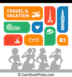 Travel and vacation shopping background Beautiful girl...