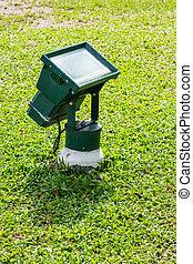 Garden flood light - Close up green color garden flood light...