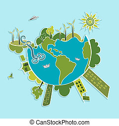 Green World ecologic elements. - Eco global green planet...