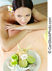 Woman in spa salon - Image of a female spa lover relaxing...