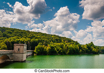 Beautiful summer sky over Prettyboy Reservoir and Dam, in...