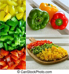 Paprika - A collage of fresh colorful peppers