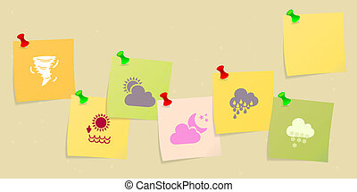 Weather icon set sketched on post its