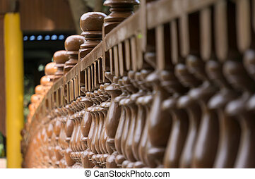 baluster - Beauty wood baluster with sunlight