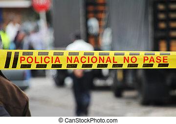 Police Line in Bogota, Colombia