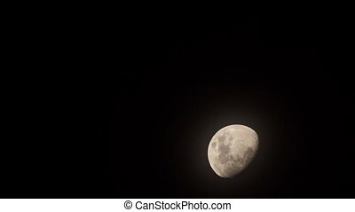 Half Moon Time Lapse full HD - Half moon in pit black sky